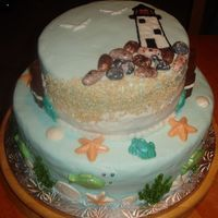 Beach Themed Cake With Lighthouse This was for a friend who loves lighthouses. I wanted to make a 3-D lighthouse for the top, but the cake had to travel a bit far, and I was...