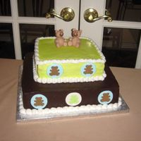 Baby Shower Cake With Teddy Bear Theme The design and colors for this cake was to match the invitations for the shower. I couldn't seem to keep my gumpaste teddies from...