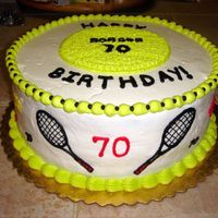 Tennis Theme 70Th Birthday Vanilla layer cake, all b/c. I even matched that bright tennis ball greenish yellow! (Yikes!);)