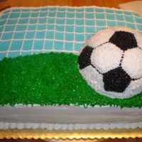 Soccer Cake 9th Birthday cake with a soccer theme.Again...another chocolate cake with chocolate cream filling...outside is b/c. Used ball pan for the...