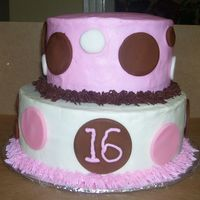 Sweet 16 This was made for a sweet 16 party. BC with fondant circles.