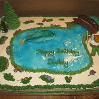Fishing  1/2 sheet, cream cheese icing, fondant/gumpaste man asleep on cooler. It's hard to notice, but there's a bucket of worms in the...