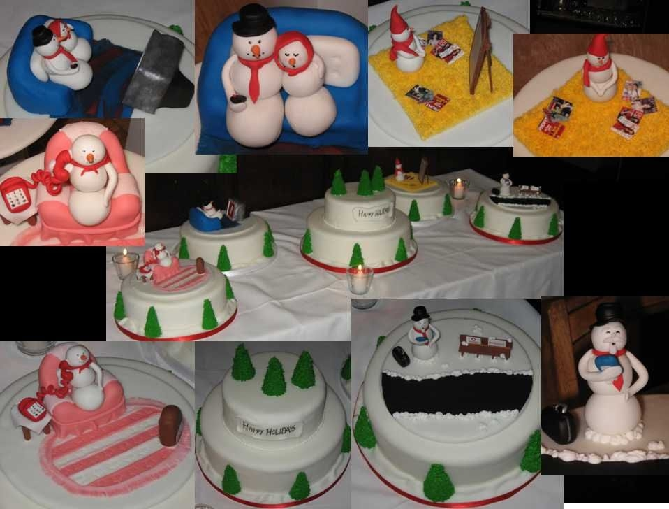 Holiday Snowman Cakes