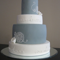 "Cake For Bridal Boutique   Display made for a bridal boutique called ""Sash and Bustle"". Design based on the boutique's logo and motif."