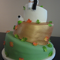 Fall Whimsical Wedding   A topsy-turvy for a fun couple who wanted their dog featured on the cake.
