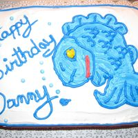 Fish Birthday Cake chocolate cake, wiltons buttercream. Freehand for a friend..writing is still a chore for me...but it gets better slowly, and I mean slowly...