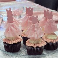 Ballerina Cupcakes  These cardstock and tissue paper Ballerina Dresses were made to match the party invitations. Chocolate cake and strawberry swiss meringue...