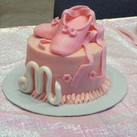 M5 Ballet Cake  Gumpaste Ballet Slippers & M (gumpaste 5 on the other side too-the party favor bags had m5 stamped on them for my daughter's name...