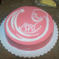 Longview Mothers League  This was a VERY quick cake I made for our local Mothers League Meeting. Covered in Swiss meringue buttercream.I used a white almond bark...