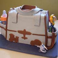 Planes, Trains, And Automobile Diaper Bag three loaf size cakes (2 chocolate, 1 blueberry) swiss meringue buttercream icing & filling, everything else is MMF except the bottle,...