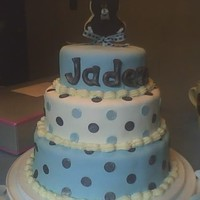 Jameelah's Shower Cake(Baby Jaden) botton layer carrot cake 2 nd butter cake pineapple filling,first butter cake lemon filling withcream cheese buttercream and satin ice...