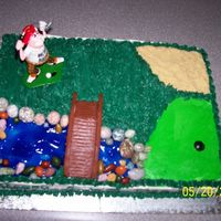 Golf B-Day Cake   Maple walnut with apple filling and bc icing. made for a golf nut. everything edible except the bridge and golfer