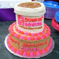 "Dunkin Donuts Cup  I made this for my grandfather's birthday. It was all yellow cake - I used peanut butter frosting for the ""coffee"" and the..."