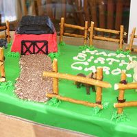 Horse Farm  This was for a co-workers daughter. The barn is a cake baked in a mini-loaf pan, the road is crushed cookies and the fence is made of...
