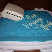 The Titanic Fared Better...  This was a cake I made for a going away party for my brother who was leaving for a semester at sea. It was supposed to be a sinking ship (...