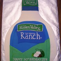 Hidden Valley Ranch  This was for a friends sister-in-law who is obsessed with Hidden Valley Ranch dressing. It was a carved 11x15 cake with vanilla buttercream...
