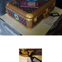 Suitcase Cake Designer suitcase.. fondant covered sponge.. sugarpaste passport, boarding pass , handle , locks and label.. for a travel agents 21st....