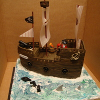 Pirate Ship Chocolate sponge covered with fondant icing. Sugar paste details and rice paper sails