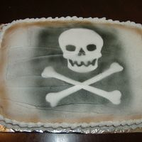 Jolly Roger Cake   Still loving my air brush! This cake was celebrating a new job- he's really into pirates. Thanks for looking!