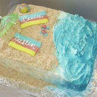 Beach Time Made this one just a little while ago using ideas from all you folks! Sandals, towels, and ball are all fondant. Sand is vanilla wafers and...