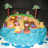 Bears Chillin' At The Beach Thanks for all the help with this one! Yellow cake on top of marble cake. Buttercream icing. Sand is brown sugar, white sugar, and graham...