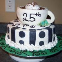"Coffee_Cup_Anniversary_Cake.jpg 10 "" round and the cup was molded and covered in fondant, B.C. swirl with chocolate shavings."
