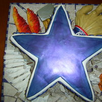 Dallas Cowboys Crush Conference Rivals  Cowboys star 2 layer cake covered in fondant painted with food gel. Eagle wing and claw, redskins feathers are all sculpted our of fondant...