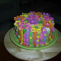 Flower Cake   Buttercream with fondant flowers.