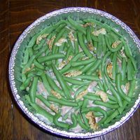 Green Bean Caserole  Yellow Cake tinted green with MMF Green Beans on top. Sauce is heated BC tinted to look cream of mushroomy. French Fried Onions are slivers...