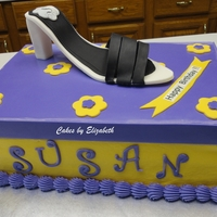 Shoe And Shoebox For my SIL's birthday. Shoe box is an 11x15 cake that I cut in half and placed the layers on top of each other. Shoe and top of box...