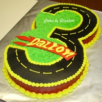 "Hotwheels Cake 12"" chocolate and 12"" vanilla cake with vanilla butter cream and fondant name plaque. For my friend's son who is having his..."