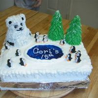 Penguin Snow Ball Fight This is a cake i made for my very best friend. Had so much fun making it. bc decorations, piping gel frozen lake. The bear is chocolate and...