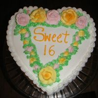 Sweet 16 Just another practice cake for roses and wreaths.