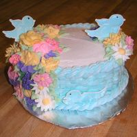 Final For Wilton Ii I didn't want my cake to look like crisco so I chose light blue. Had SO much fun making the little birds! Buttercream icing, rope, and...