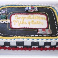Nascar Grooms Cake This was the grooms cake for my cousins wedding. Her hubby loves Nascar and especially Dale Jr. The cars were provided by my cousin. It...