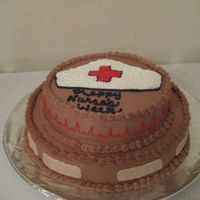 Happy Nurse's Week Made for coworker's for nurse's week. Thanks to all the CC'ers whose cakes I borrowed ideas from.Cake was Dark Fudge...