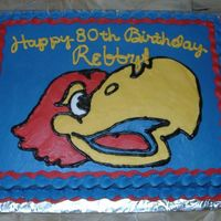 Jayhawk Cake Hand piped Jayhawk, Iced in buttercream.