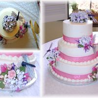 Garden Cake With Hydrangeas And Dragonflies This was a cake for my cousins wedding. We traveled over 3 hours in June weather to deliver it to her. Luckily I was able to talk her into...
