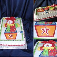 Jack In The Box This was alot of fun to make. I iced the cake in buttercream using skim coats for the colors and details of the box. The clown is made out...