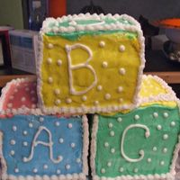 Baby Blocks 12 x 12 cake cut to make the blocks. BC icing. This was my first baby block cake and it was hard but I think that the customer liked it.
