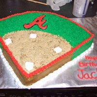 Baseball Cake, This was for a 8 year old who loves the Braves. 12x12 cake trimed to look like a baseball feild. BC incing hope you enjoy.