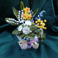 Spring Flower Arrangement For my course, I have finally completed this project. The flowers are Lily Of The Valley, yellow Daffodils, Bluebells, Mimosa, Primroses,...
