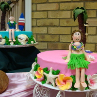 Boy & Girl Hawaiian Cakes My first fondant figures. I used books by Ann Pickard, she is a UK sugar artist, and wonderful demonstrator. The girl cake is BC with...
