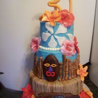 Angelica's Luau Cake I made this for a friend's sister's 30th birthday. It's a 5-7-9. Bottom tier is fondant strips to look like a grass skirt....