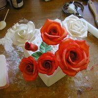 Orange Roses These are my latest gumpaste flowers. I think i'm gettin better at this. My first few were kinda scary. These are for my friends...