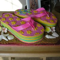 Flip Flops These are my version of the popular flip flops. The straps are gumpaste airbrushed pink. The stripes on the sides are lines of buttercream...