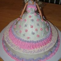 Flower Barbie  Made with the Wondermold pan. Dress is chocolate fudge and base is butter cake. Iced and decorated in bc. Barbie is real, well wrapped, but...
