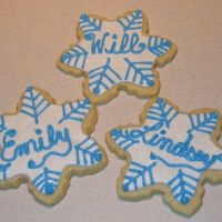 Snowflake Cookies Sugar Cookies iced in royal icing. Personalized for an entire family.