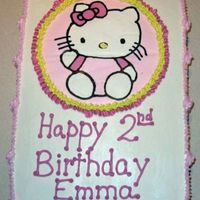 Hello Kitty!  This is a 1/2 chocolate fudge and 1/2 french vanilla cake--marbles where they meet, 1/4 sheet. It is iced and decorated in bc. This is the...