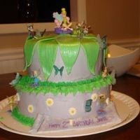 Fairy Birthday Cake This is a cake I made for my daughter's 2nd birthday. Fondant leaves on top (thanks alengirl), wafer paper butterflies (from CakeArt...